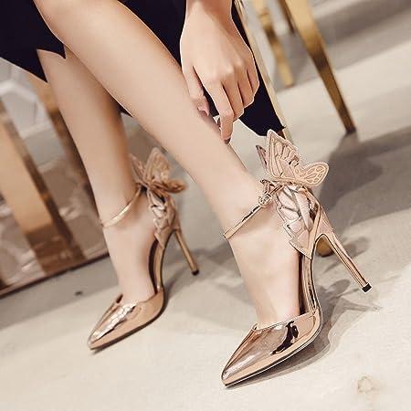 ALUK- Scarpe da donna - Moda europea e americana   tacchi alti   ali di  farfalla scarpe a punta   sandali sexy ( Colore   Champagne  b84a87f4a33