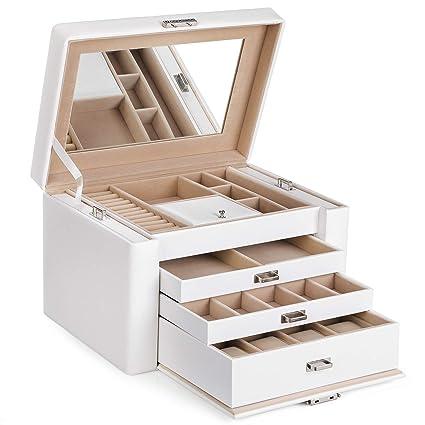 3634ca8d5 SONGMICS Caja joyero PU Organizador para aretes anillos relojes pendientes  con espejo 3 cajones bandejas laterales