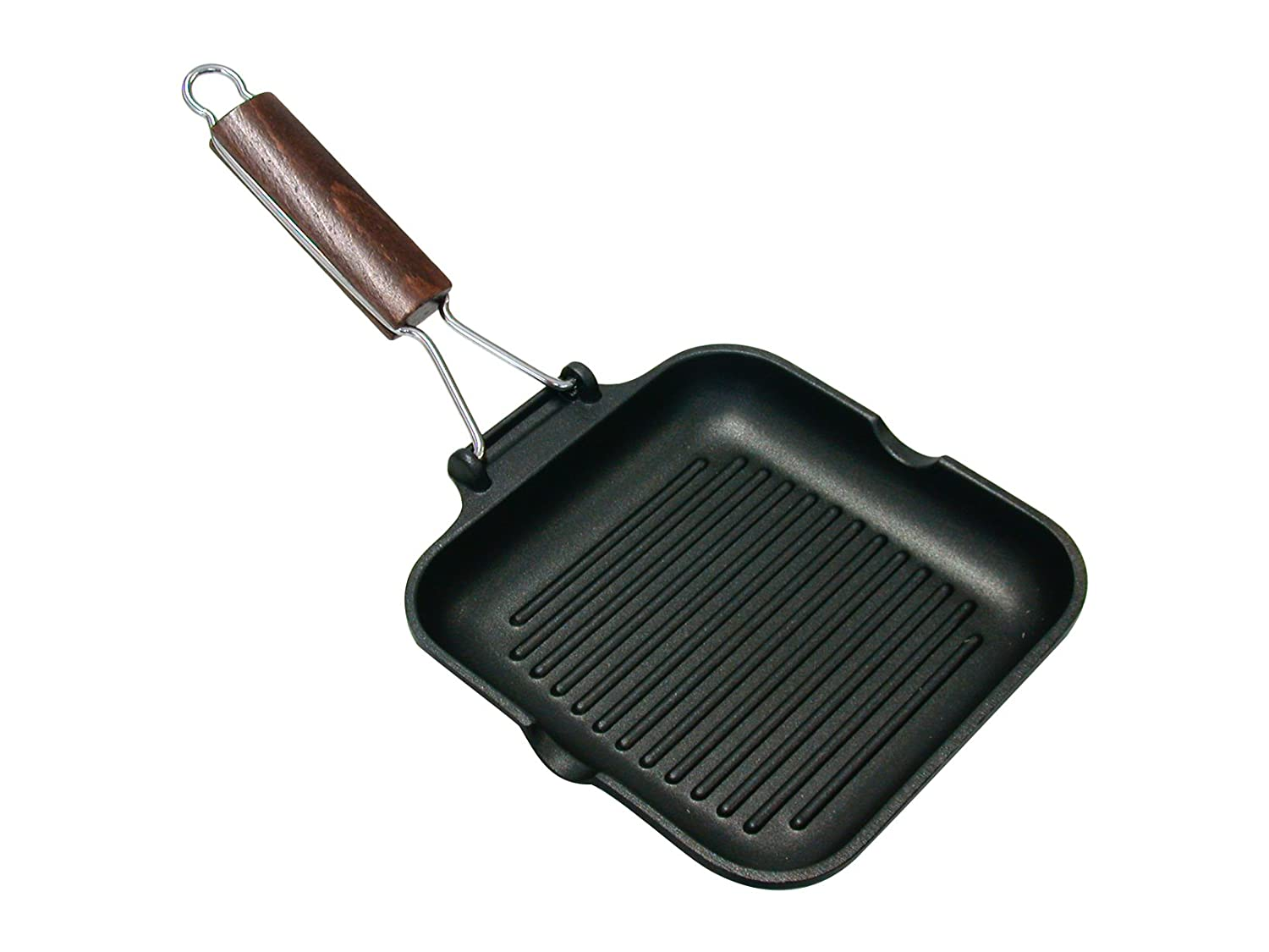 Home Delizia Non-stick Coating Grill Pan with Foldable Handle, Aluminium, Black, 20x20 cm Harbenware