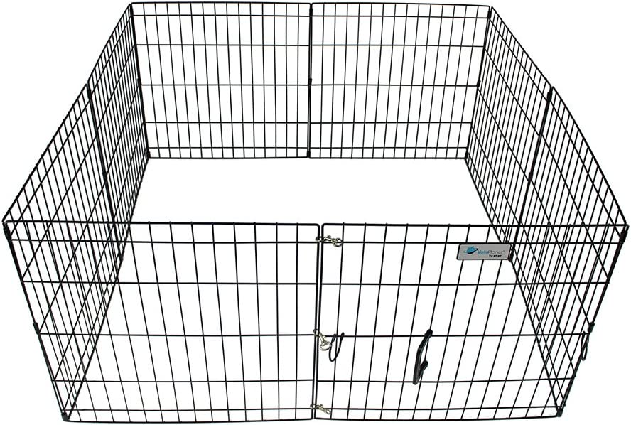 ValuPlanet Epoxy Folding Dog Exercise Pen, Black