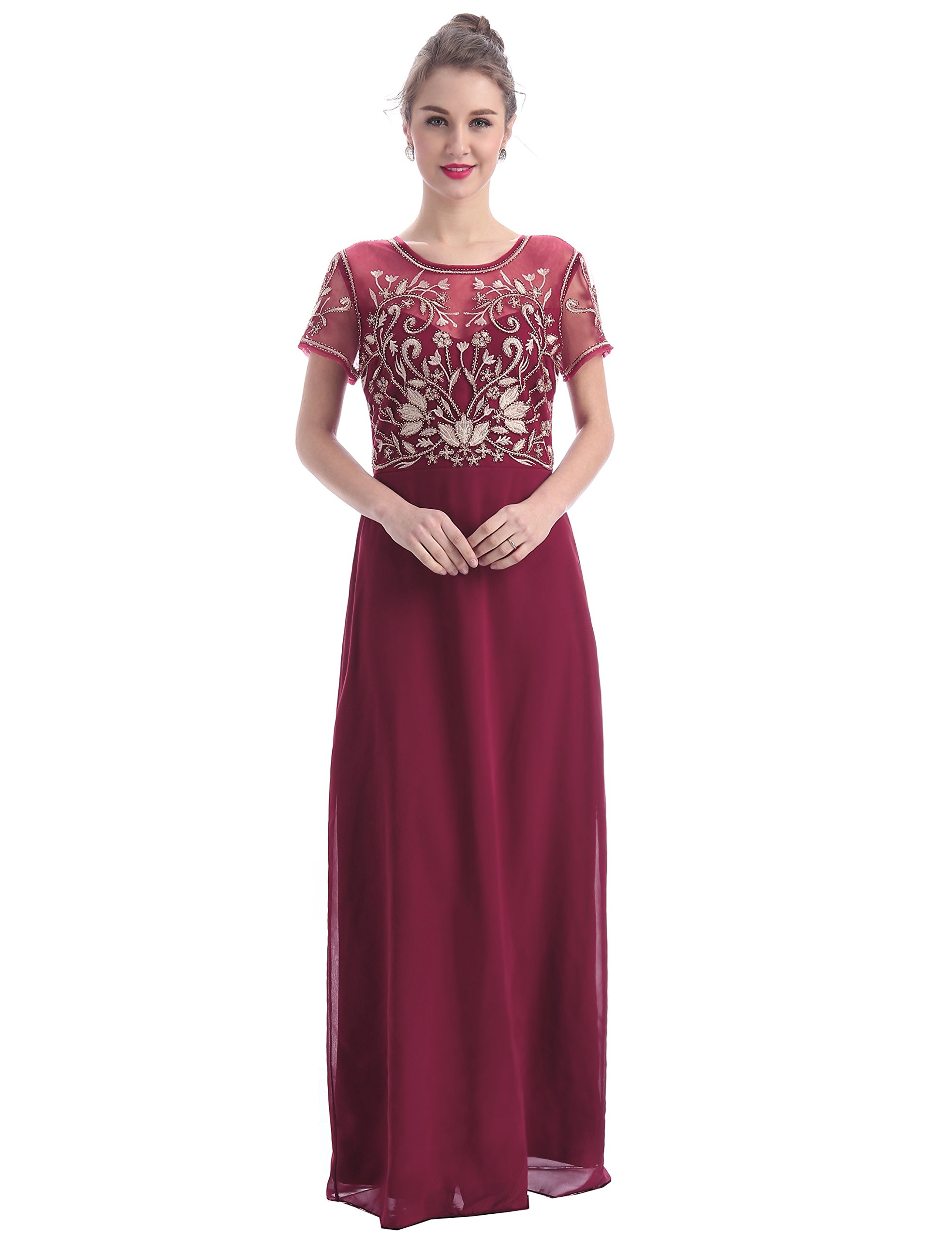 MANER Women's Fashion Chiffon Tulle Beaded Embroidered Long Evening Gowns Prom Party Dress (XL, Burgundy/Apricot)