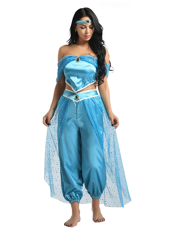 Aladdin Princess Jasmine Fancy Dress Womens Top Pants Cosplay Costume Halloween