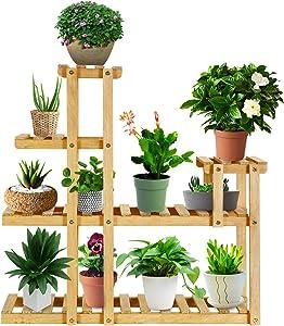 CHARMDI Pine Wood Plant Stand, Flower Plant Shelf Multi Layer Planter Pots Shelves Plant Holder, Indoor Outdoor Flower Rack Plant Stand Shelf for Garden Patio Balcony (4 Tiers 10 Flowerpots)