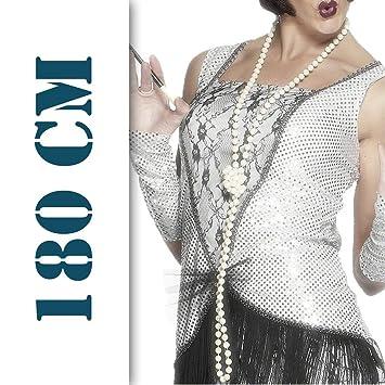 Collar de perlas charlestón de los años 20 joya vestuario señora mujer