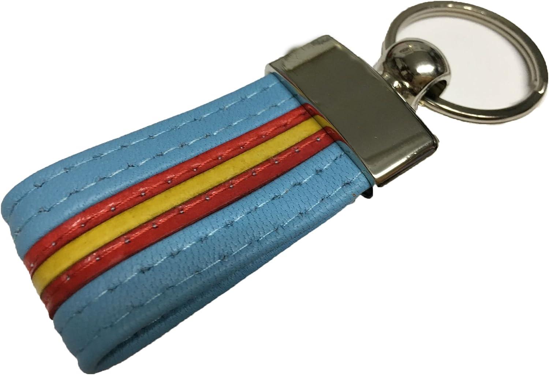 LLAVEROS DE Piel con Bandera DE ESPAÑA (100% Artesano) (Azul): Amazon.es: Equipaje