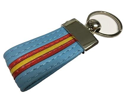 Llavero De Piel Bandera De España (Azul Claro)