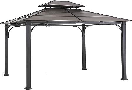 Sunjoy Cenador de acero galvanizado de 3 m x 3, 6 m, parte superior de imitación de cobre.: Amazon.es: Jardín
