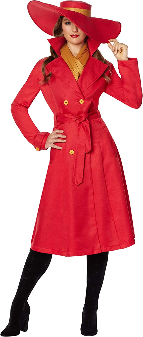 1930s Costumes- Bride of Frankenstein, Betty Boop, Olive Oyl, Bonnie & Clyde Spirit Halloween Adult Carmen Sandiego Costume | Officially Licensed $49.99 AT vintagedancer.com
