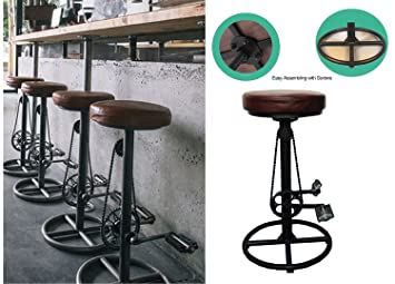 amazon com topower vintage diy bar stool pu soft seat iron pedal
