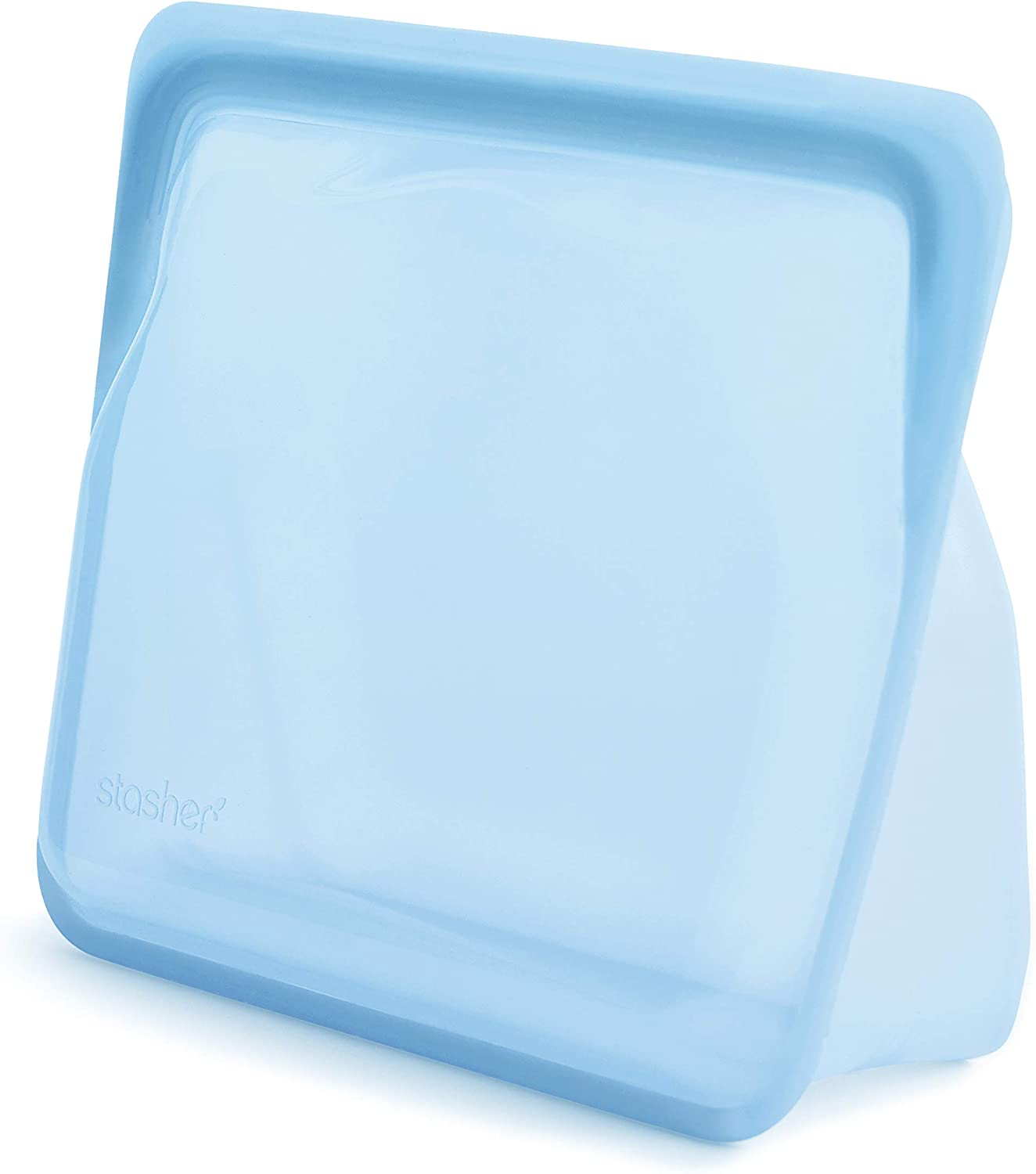 Stasher Platinum Silicone Food Grade Reusable Storage Bag, Blue (Stand-Up Mid) | Reduce Single-Use Plastic | Cook, Store, Sous Vide, or Freeze | Leakproof, Dishwasher-Safe, Eco-friendly | 56 Oz