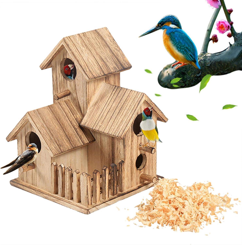 Casa De Pájaros De Madera - Caja De Anidación Múltiple De La Caja del Nido La Caja del Pájaro De La Playa De La Playa, Adecuada para Muchas Especies Diferentes De Pájaros De Jardín, 20.5x15.5x15.5cm