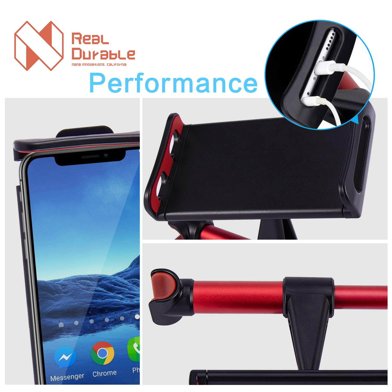Nana Innovations Car Headrest Mount, Tablet Headrest Holder: Stand Cradle Compatible with Devices Such as iPad Pro Air Mini, Samsung Galaxy Tabs, Other 4.7-10.5\