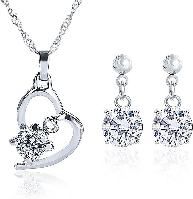 Cadeau Premium Accessoire de Bijoux plaqu/é Or 18 carats Parure Collier Pendentif c/œur Cristal et Boucles doreille Pendantes pour Femme Maman Petite Fille Adolescente