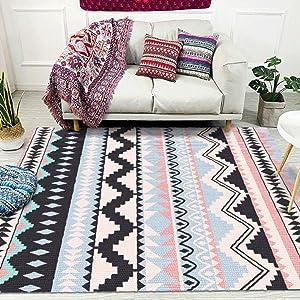TriGold Geometric Area Rugs Soft Velvet Floor Rugs, Modern Decorative Moroccan Indoor Carpet Fashion Throw Rugs for Living Room Bedroom-Purple 120x180cm(47x71inch)