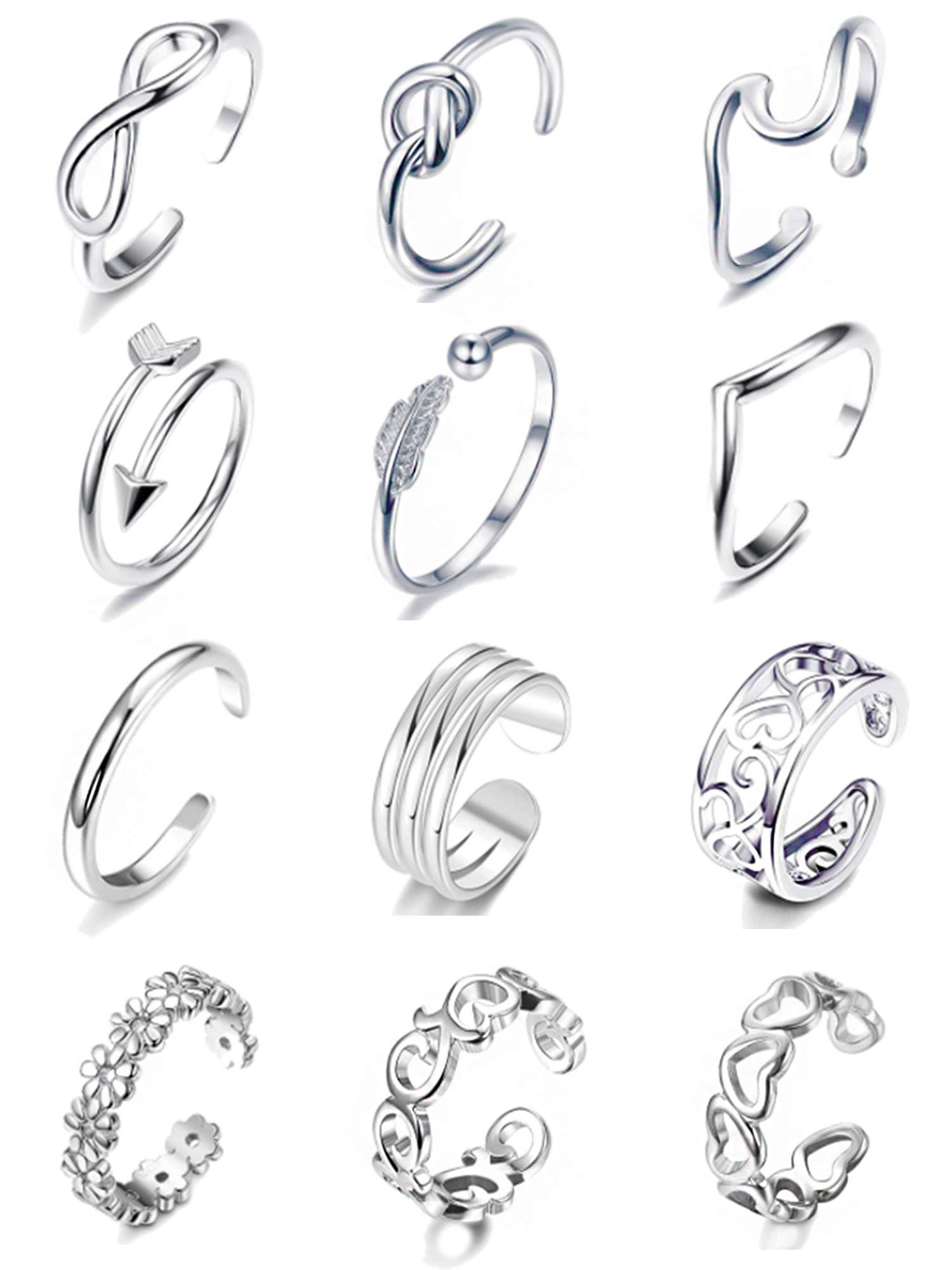 Cooluckday Open Toe Rings Adjustable Hypoallergenic Knuckle Ring Flower Knot Joint Tail Band Fingers Rings Foot Jewelry 12 Pcs