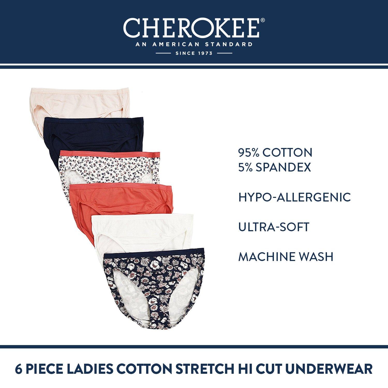 e75992568 Amazon.com  CHEROKEE Women s Cherokee 6 Piece Ladies Cotton Stretch Hi Cut  Underwear Underwear
