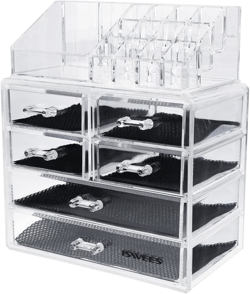 ISWEES Large Capacity Makeup Organizer,5MM Clear Acrylic Cosmetic Make up Storage Box,Jewelry Watches Display Cube Case,2 Parts with 6 Large Removable Drawers