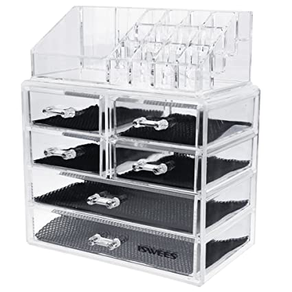 ISWEES Large Capacity Makeup Organizer,5MM Clear Acrylic Cosmetic Make up Storage Box,Jewelry