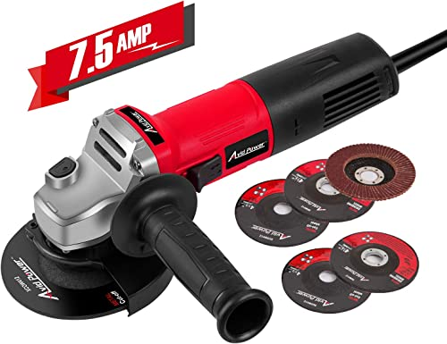 Avid Power Angle Grinder 7.5-Amp 4-1 2 inch with 2 Grinding Wheels, 2 Cutting Wheels, Flap Disc and Auxiliary Handle