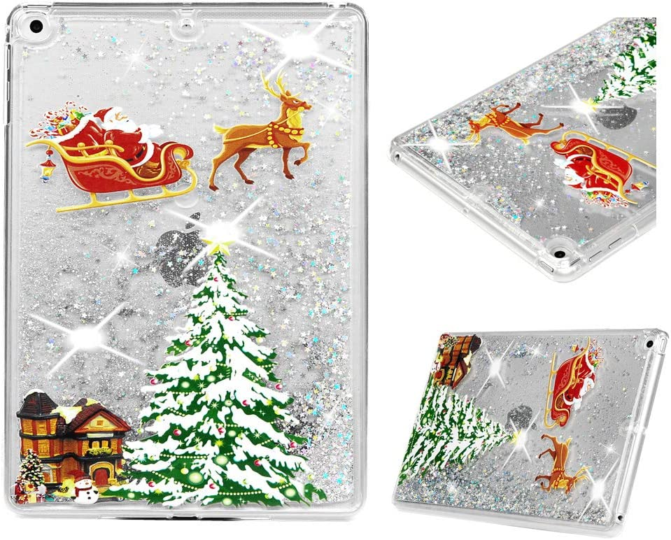 "iPad Air 2 Case 9.7"" - Mavis's Diary Christmas Case Clear Bling Shiny Sparkle Cover Ultral Slim Shockproof Drop Resistant TPU Bumper Frame Acrylic Shell Cover (Christmas Night)"