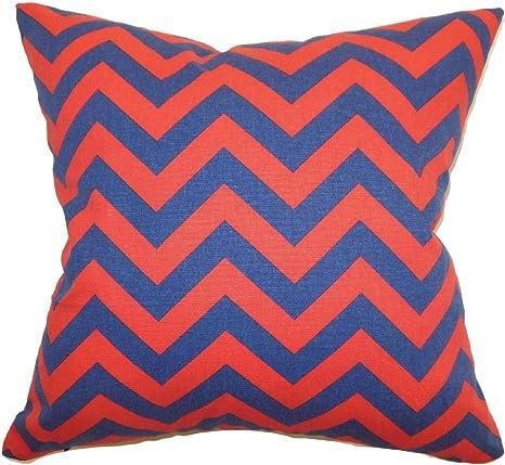 Amazon Com The Pillow Collection Xayabury Zigzag Lipstick Blue Down Filled Throw Pillow Home Kitchen