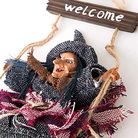 Hanging Horror Riding Broom Witch Figurine Halloween Decoration Ornaments HOT