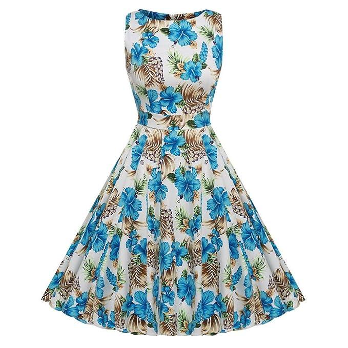 Lecimo Vestido Vintage Mujer de 1950 de Cóctel Flores de Fiesta de Jardín del Resorte sin