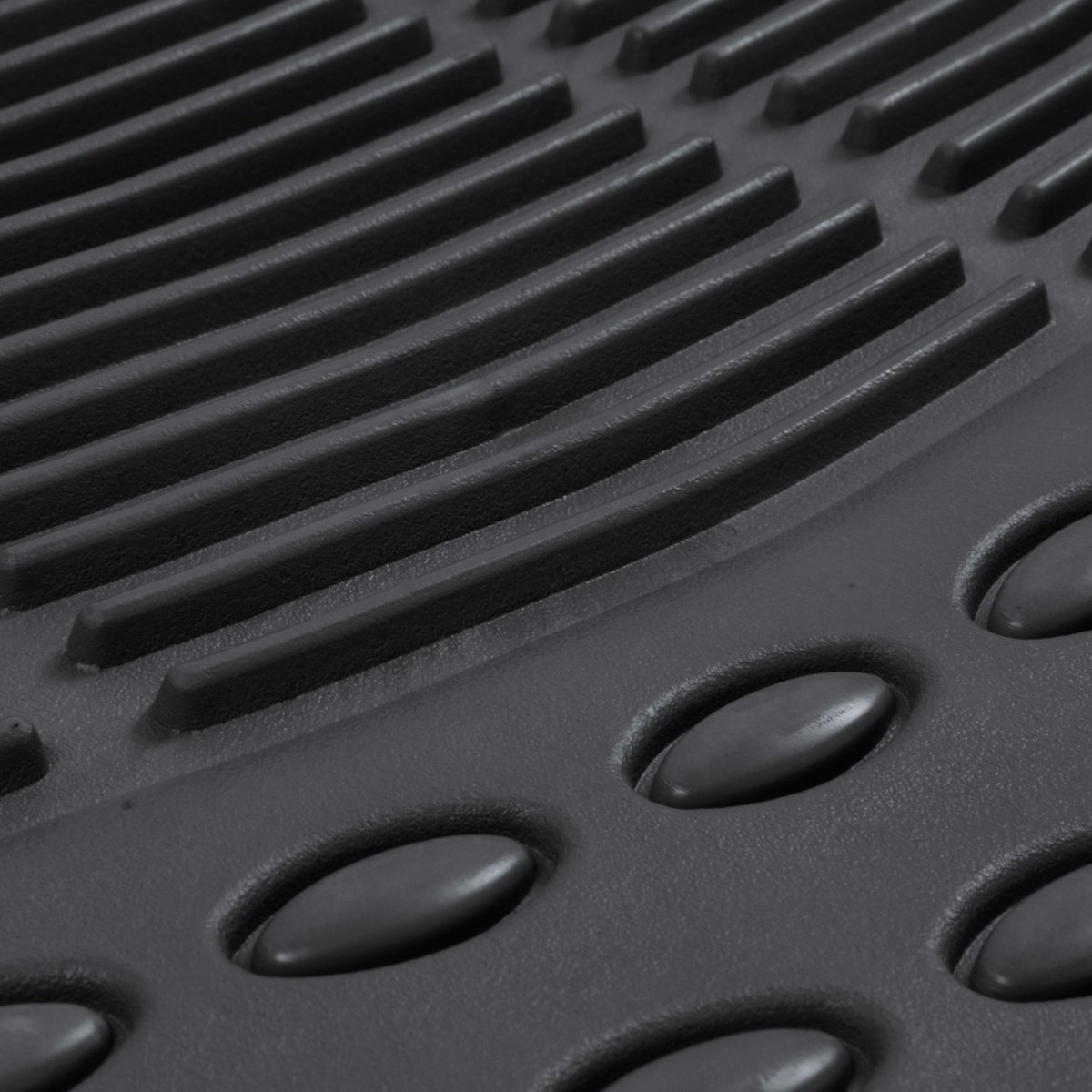 Black BDK Car SUV and Van Floor Rubber Mats 3 Rows 4 Pieces Heavy Duty All Weather Protection