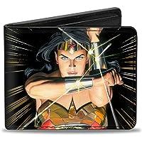 Buckle Down mens Buckle-down Pu Bifold Wallet - Wonder Woman Mythology Crossed Pose Bi-Fold Wallet One Size