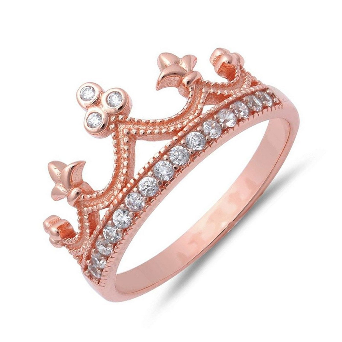 Wedding Season Import Crown Ring .925 Sterling Silver Princess Tiara Unique Womens Girls Band Color Option Size 12 - Rose Gold