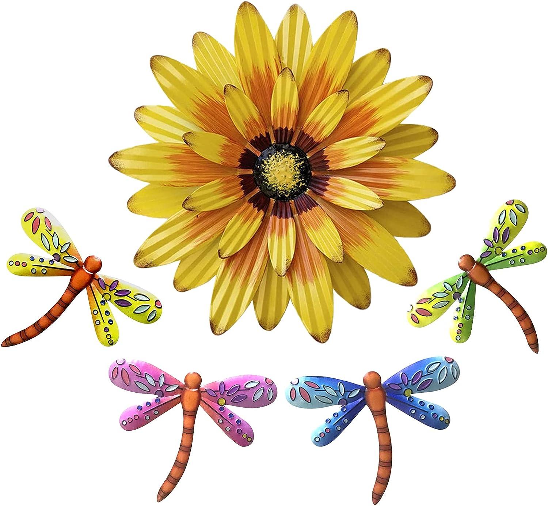 XIUDEEN Metal Flowers Outdoor Wall Decor, Set of 5 Flower & Dragonfly Metal Wall Art for Deck Decor, Garden Fence, Yard, Patio, Porch, Bedroom, Living Room, Indoor or Outdoor Decorations