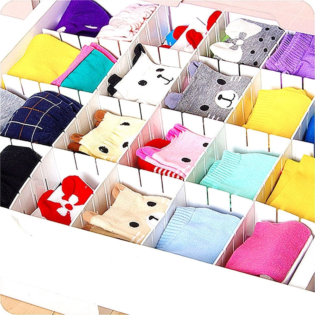6PCS DIY Grid Drawer Divider Storage Organizer Drawer Partitions Free Combination Malayas