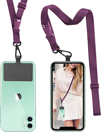 Phone Lanyards for Around The Neck with Detachable Adjustable Phone Strap Wrist Lanyard for All Smartphones-Gray SS Cell Phone Lanyard