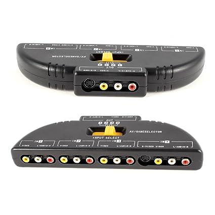 optimal shop 4 way audio video av rca switch game selector box splitter black
