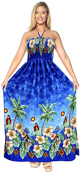 f50bdcb7db LA LEELA Soft Printed Maxi Tube Dress Halter Swimwear Royal Blue 345 One  Size