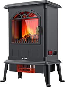 KUPPET Electric Fireplace Infrared Heater Freestanding Fireplace Stove Heater 1000w/1500w-Adjustable Flame-Thermostatic Overheating Safety Protection- Cold Touch Housing-Indoor Use