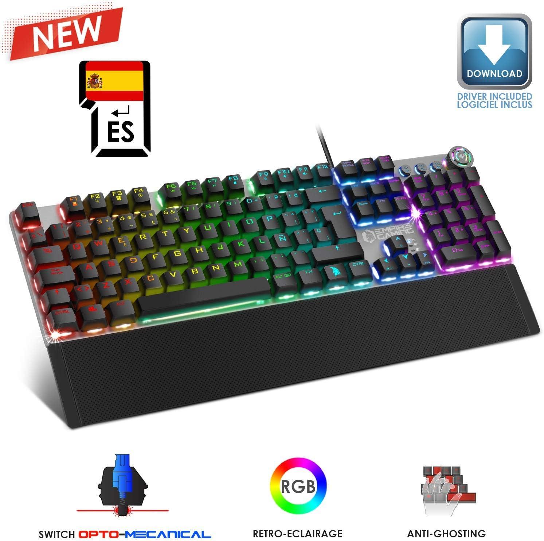 EMPIRE GAMING – STARDUST Teclado Gaming – Teclas opto-mecánicas – Retroiluminación LED RGB – Gamer Software de programación - Reposa-muñecasextraíble (QWERTY, Español)