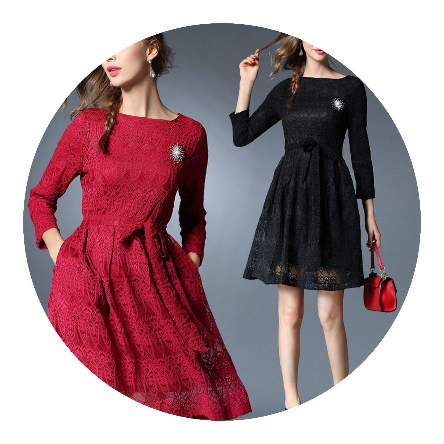 Spring Long Sleeved Black Lace Dress Vestidos Mujer Invierno Autumn Dress Kerst K9276 at Amazon Womens Clothing store: