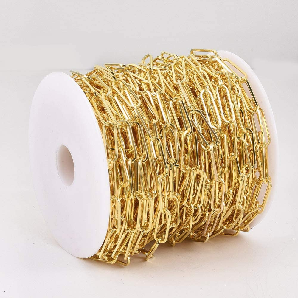 UR URLIFEHALL 25m Golden Unwelded Iron Cable Chains Paper Clip Chains with Spool for Necklace Jewelry Accessories DIY Making 15x6mm