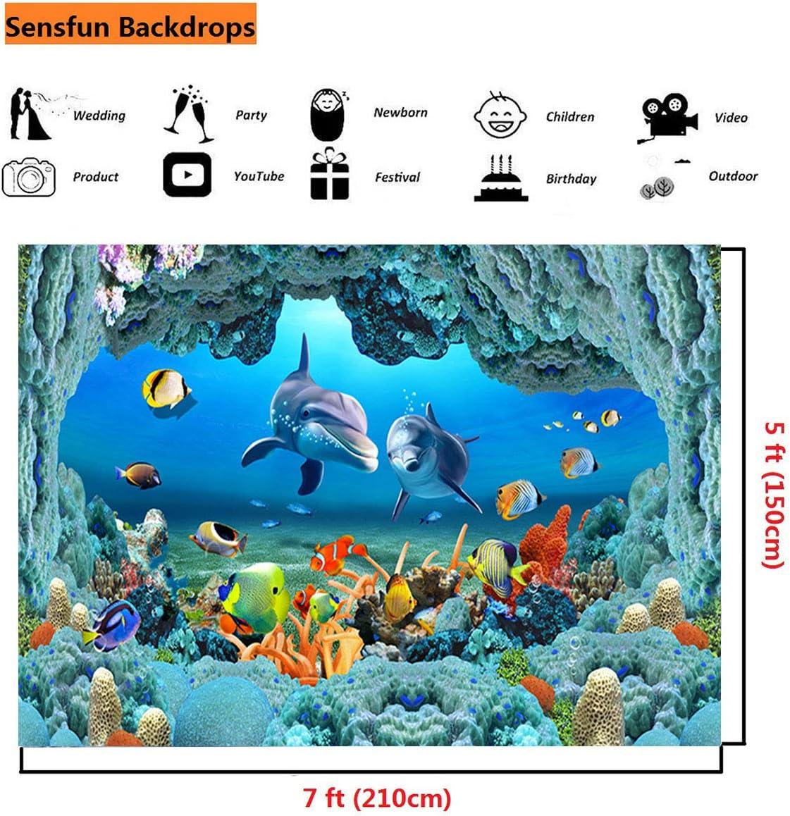 10x6.5ft Aquarium Background Fish Tank Background Coral Photography Backdrop Photo Props LYFU203