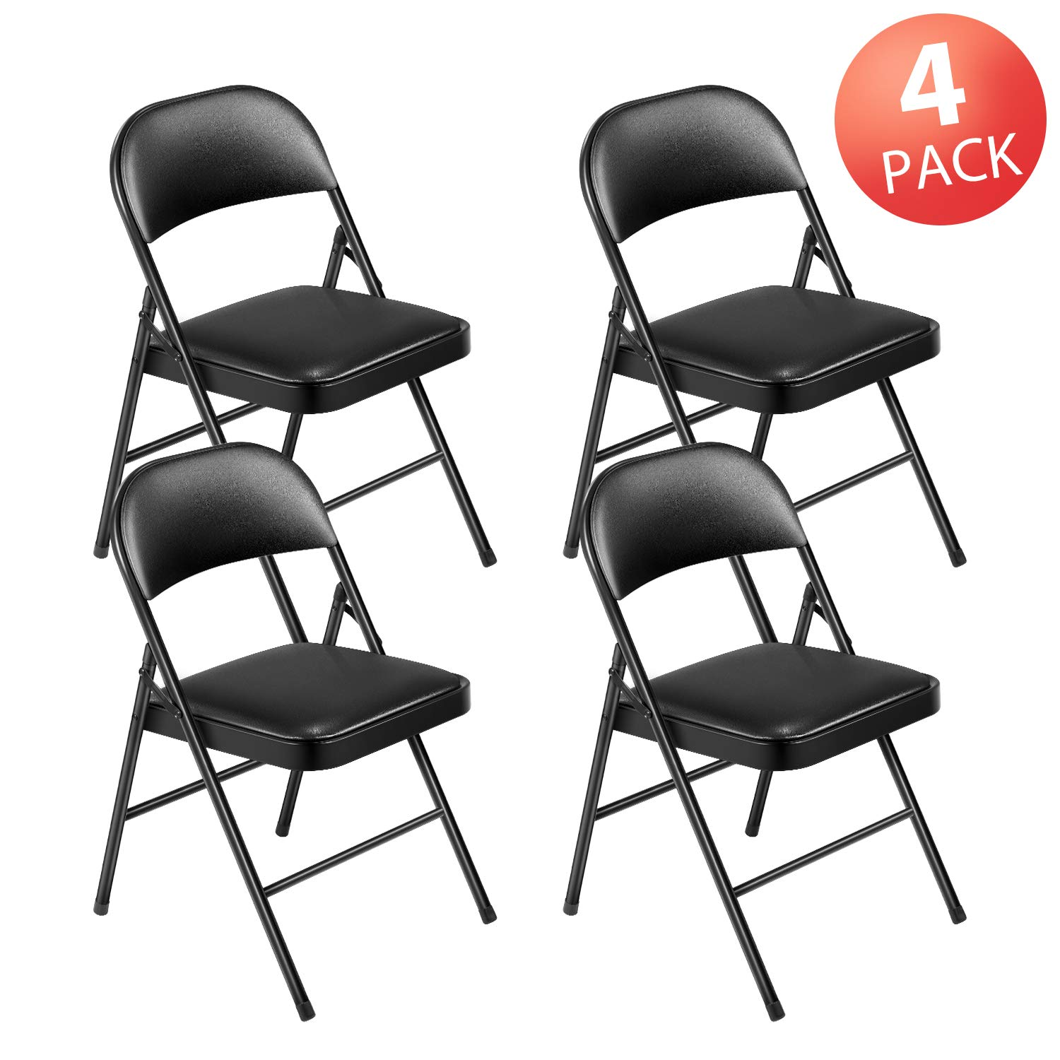Kealive Folding Chair Steel Upholstered Padded Seat and Back 4 Pack Vinyl Padded Folding Chairs Stacked Double Hinged 480 lbs Weight Capacity, 4 Padded Dining Chairs Metal Frame, Black by kealive