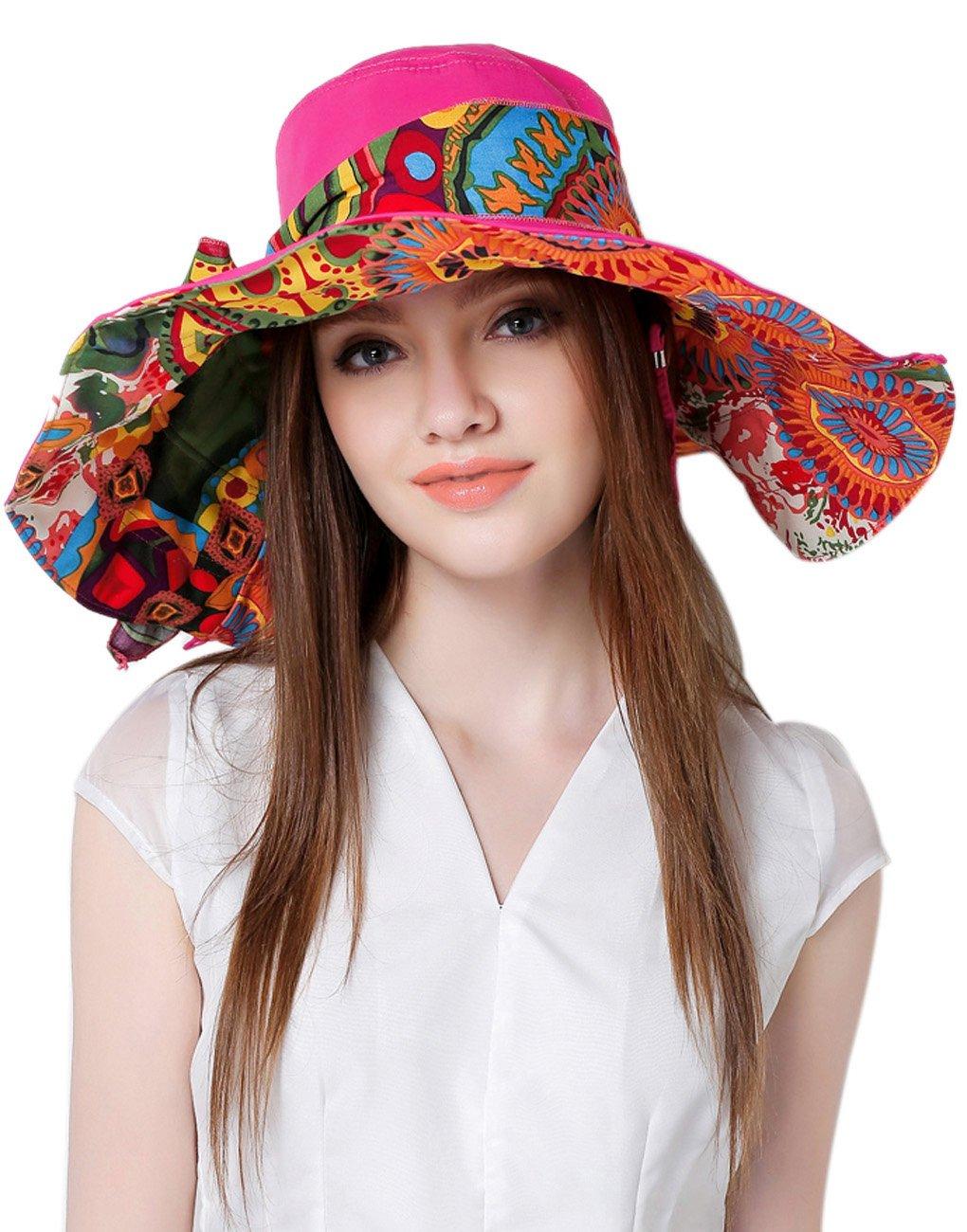 Sombrero para el sol de mujer y niña reversible, plegable, para viajar a la playa, con visera grande...