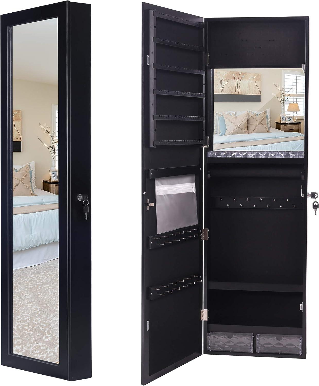 Armadietto portagioie da parete montaggio a parete//porta e serratura Lavievert con specchio interno ed esterno