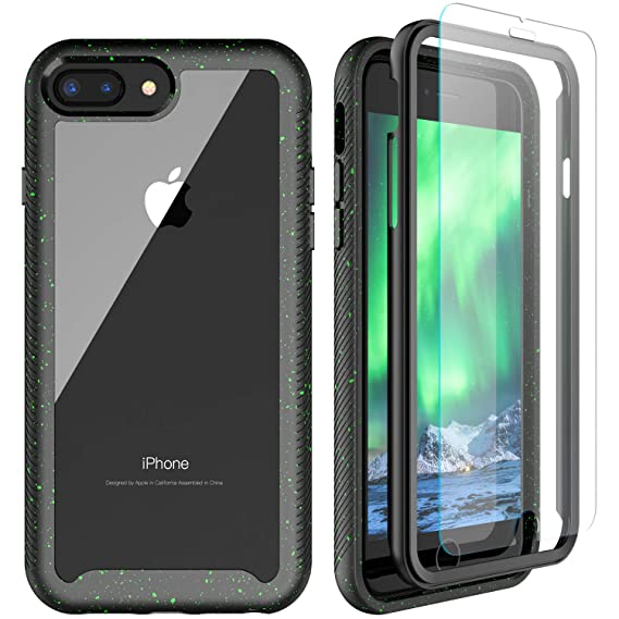 iPhone 8 Plus/7 Plus/6S Plus/6 Plus Case, SPIDERCASE Heavy Duty Full Body Protective Case, Tempered Glass Screen Protector Included, Shock Absorbent ...