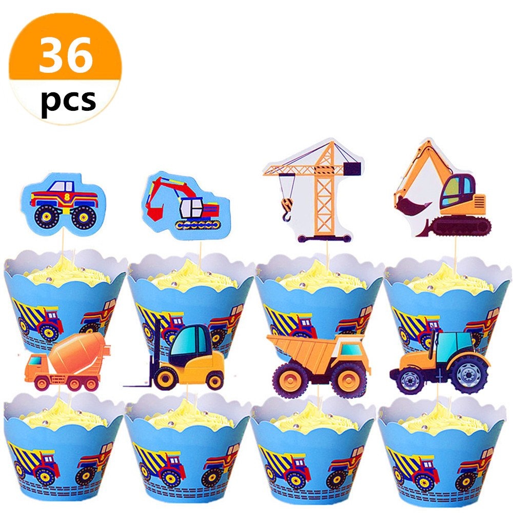 (Set of 36) Sakolla Construction Zone Vehicles Truck Cake Cupcake Toppers and Cupcake Wrappers for Birthday Wedding Baby Shower Party Decorations