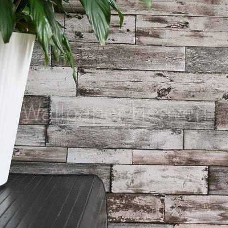 Wallpaper Heaven Rustic Planks Wood Effect In Brown Grey And Beige