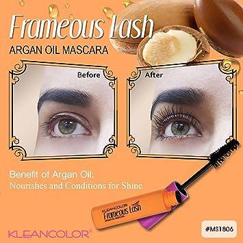 7536dcaf5c0 Amazon.com : Kleancolor Frameous Lash Argan Oil Waterproof Mascara Luminous  Hydrated Effect : Beauty