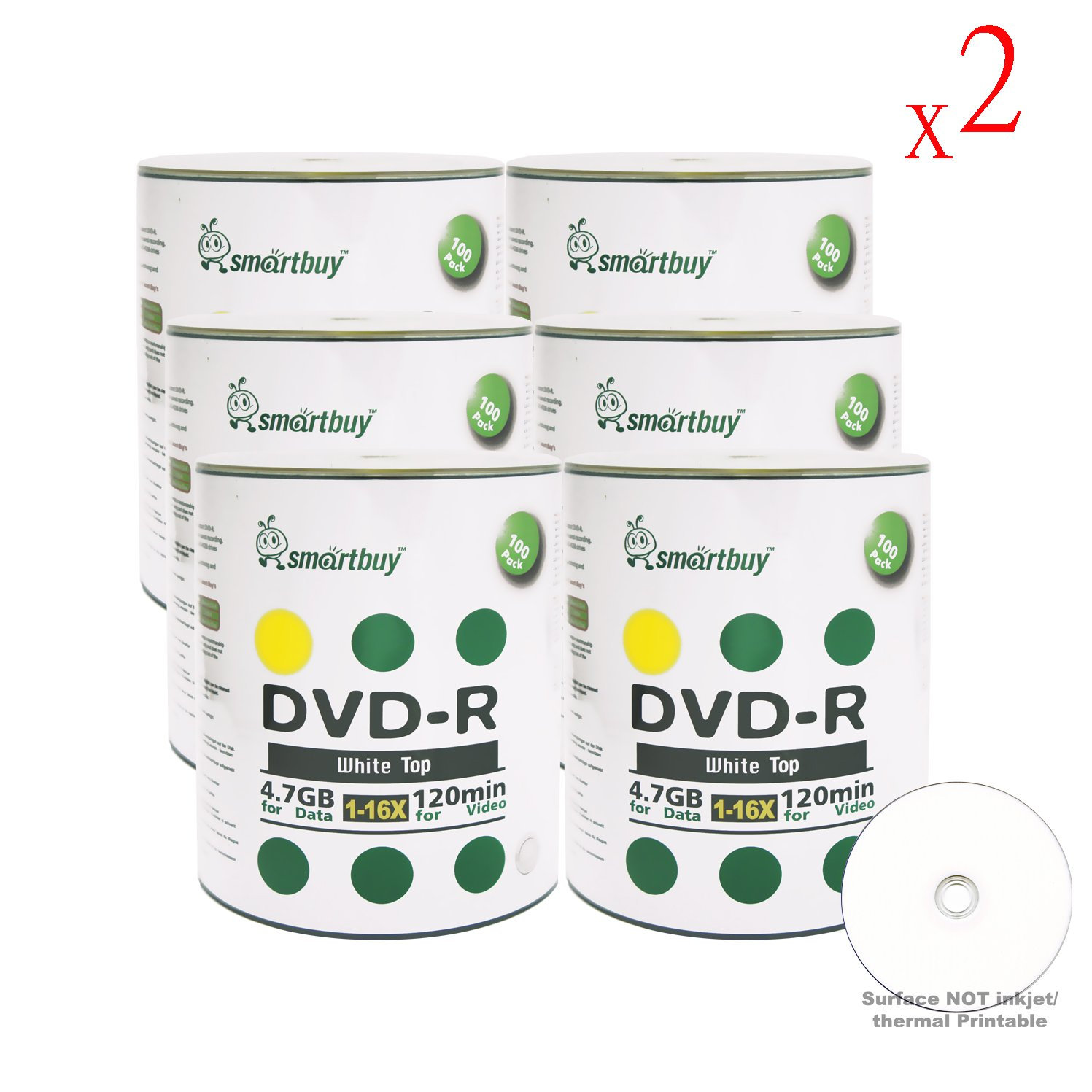 Smart Buy 1200 Pack DVD-R 4.7gb 16x White Top Blank Data Video Movie Record Disc, 1200 Disc 1200pk