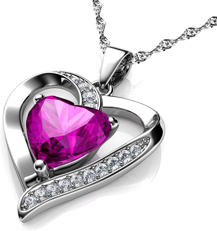 DEPHINI - Collar con colgante de corazón de plata de ley 925 con circonita blanca y piedra natal rosa adornada