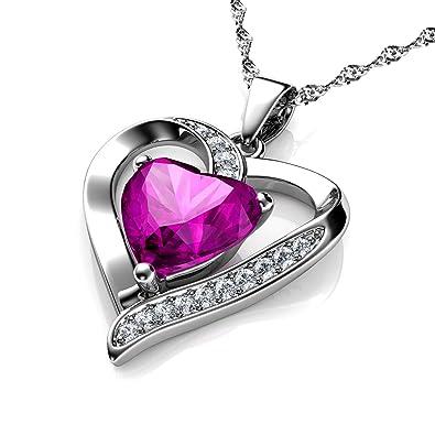 Pendentif cœur avec zircons blancs et rose ornés de cristal de Swarovski